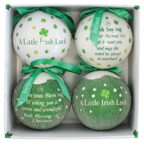 A Little Irish Luck Set of 4 Christmas Baubles