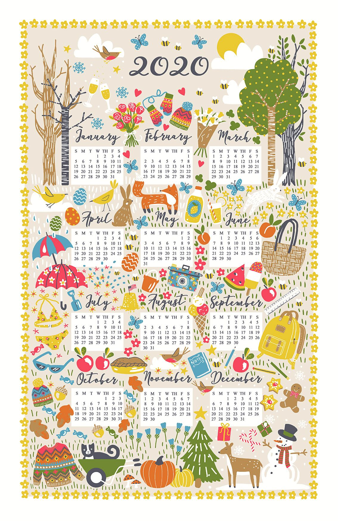"""Seasonal"" 2020 Calendar Tea Towel by Ulster Weavers"