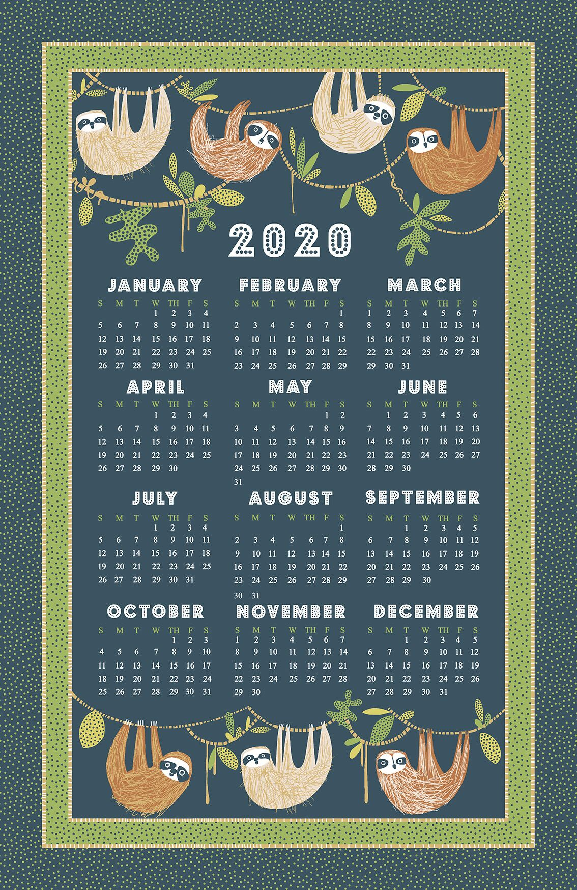 """Hanging About"" 2020 Calendar Tea Towel by Ulster Weavers-"