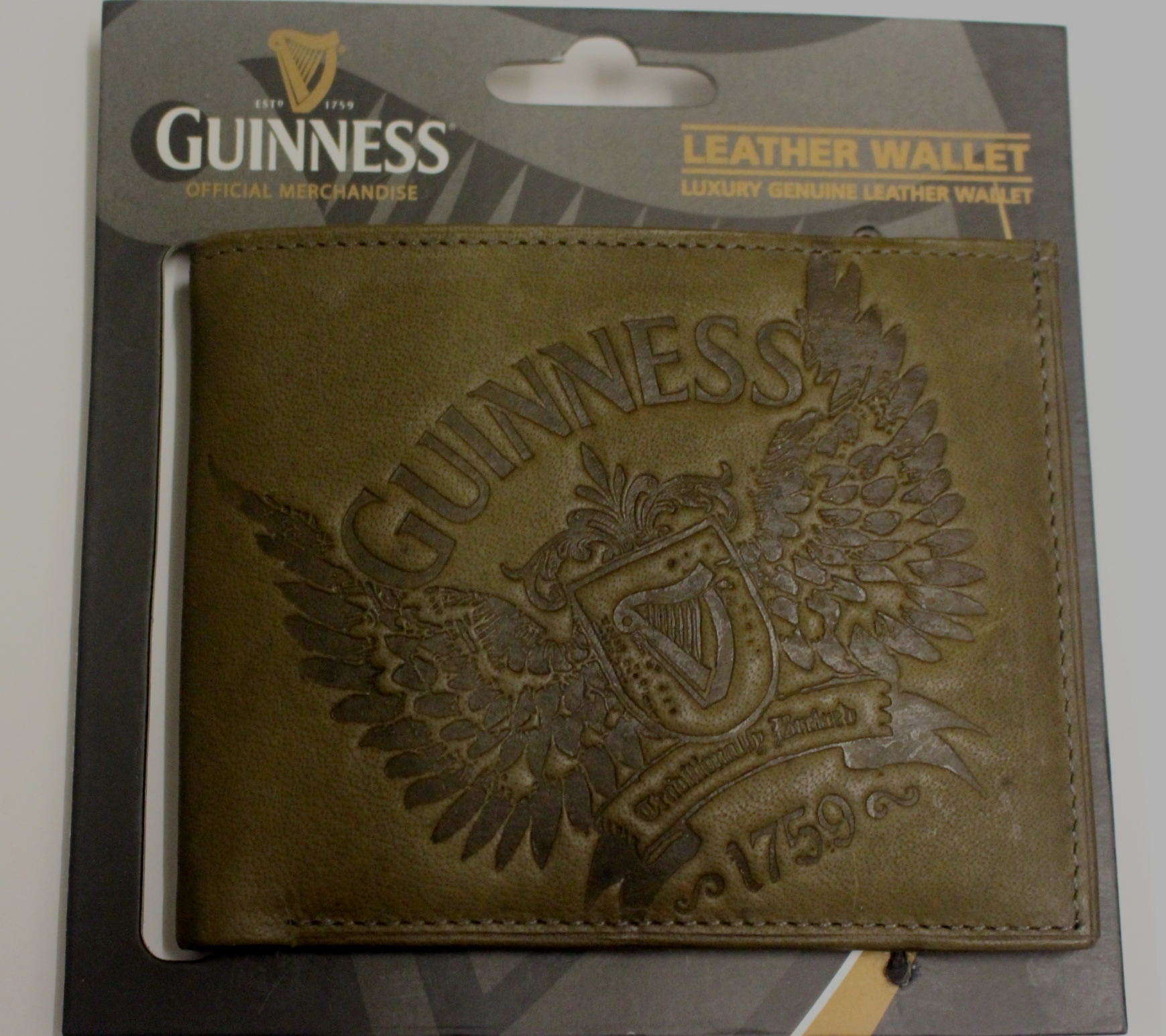 Guinness Wings Luxury Leather Wallet Khaki - Click Image to Close