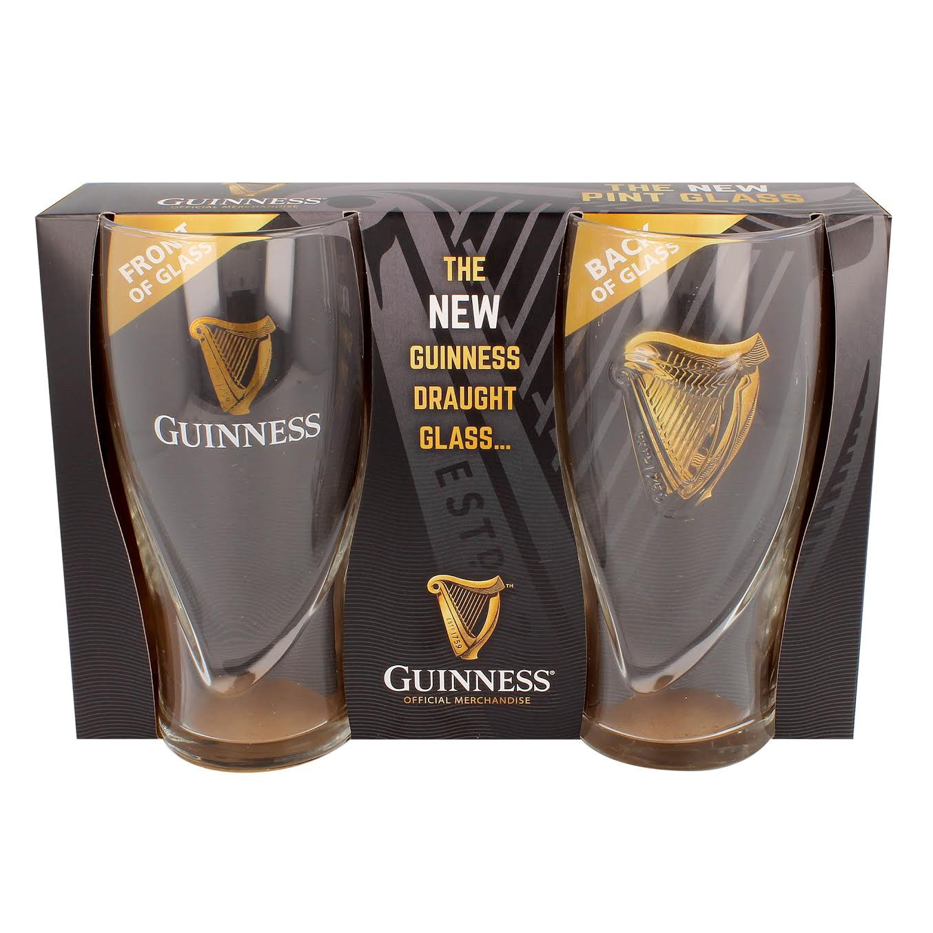 "Guinness ""Brand New"" Draft Pint Glasses (2 pack)"