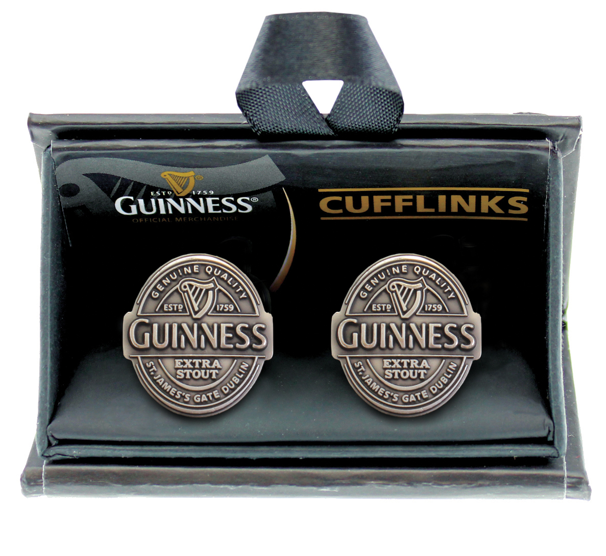 Guinness Label Cufflinks Antique Silver