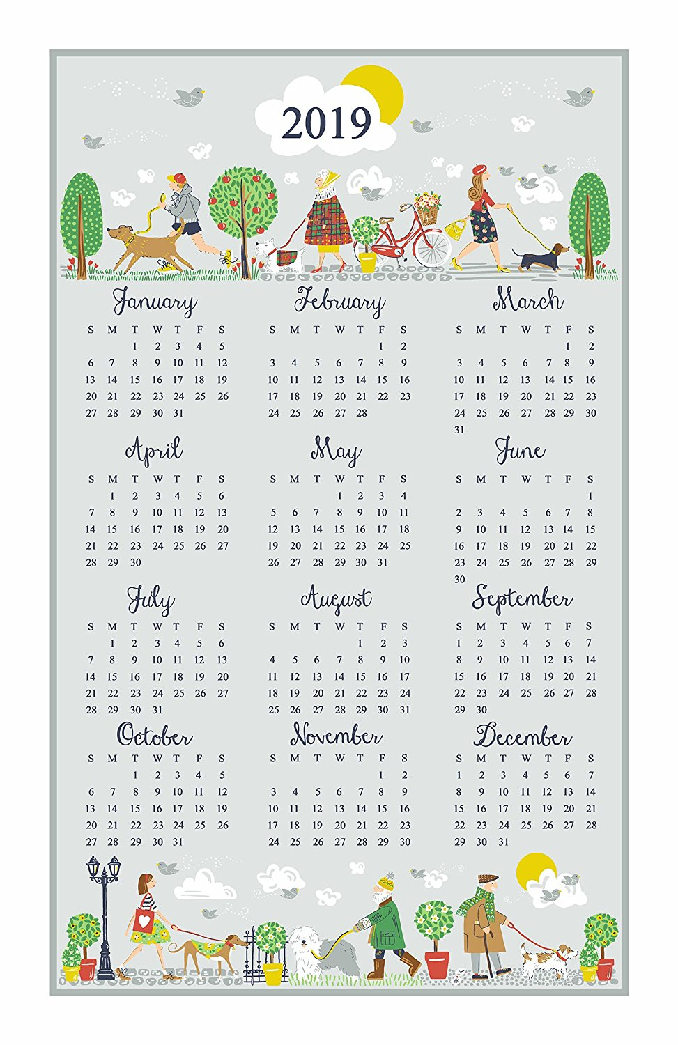 """Walkies"" 2019 Calendar Tea Towel by Ulster Weavers"