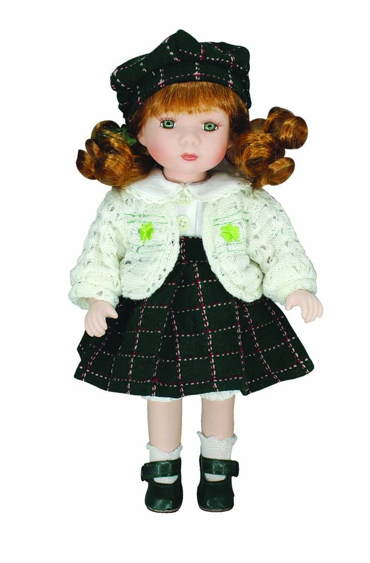 """ Erin"" Porcelain Doll With White Dress And Green Tartan Skirt"