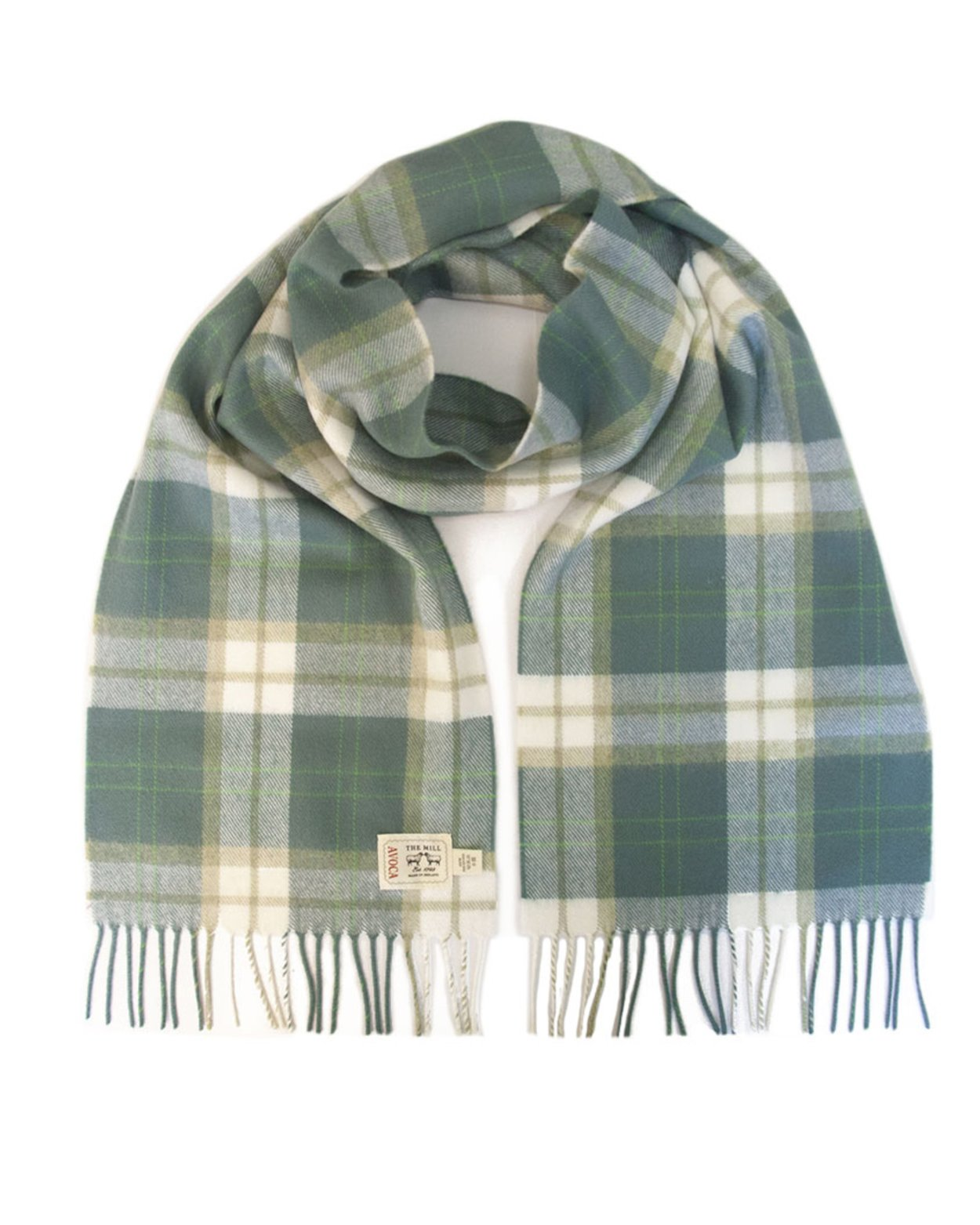 Avoca 100% Lambswool Scarf (Made in Ireland) Green Check design