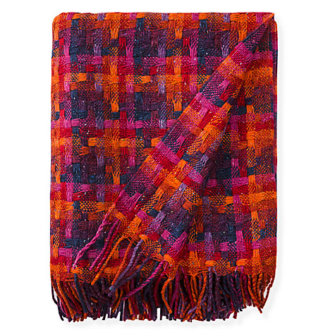 "Avoca Pure Wool Throw 56"" x 72"" Made in Ireland Lollipop Berry"