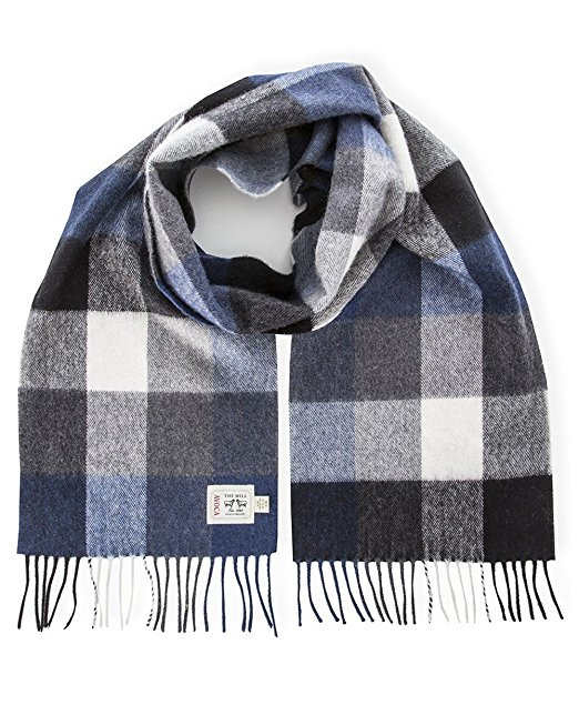 Avoca 100% Lambswool Scarf (Made in Ireland) Navy Check design
