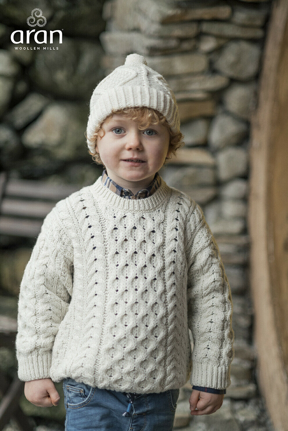 Kids Traditional Aran Wool Sweater- Made in Ireland