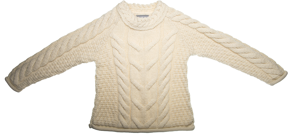 Kids Pure Wool Aran Sweater - Made in Ireland