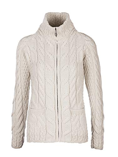 Aran Woollen Mills - Ladies Irish Shaped Zip Wool Cardigan S-XXL