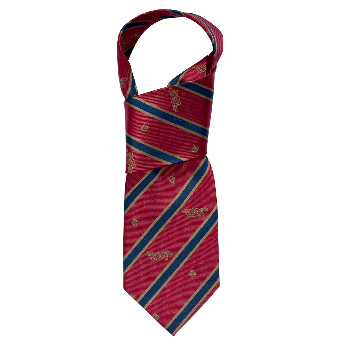"""Book of Kells"" Red/ Navy Stripe 100% Silk Tie"