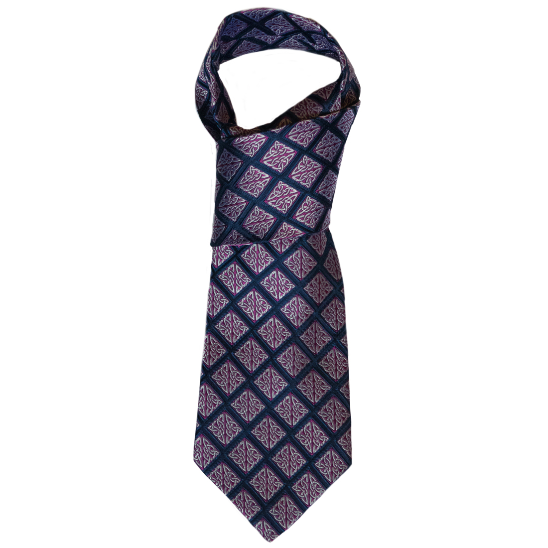 """Book of Kells"" Navy/Purple Knot 100% Silk Tie"