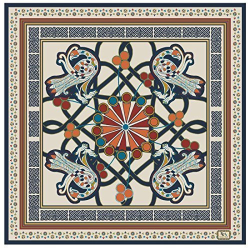 """ Book of Kells"" Peacock Design Scarf - Cream - Pure Silk"
