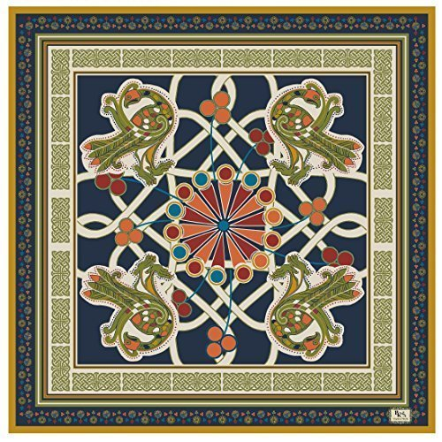 """ Book of Kells"" Peacock Design Scarf - Navy - Pure Silk"