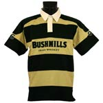 Bottle green and beige striped Bushmills rugby shirt