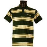 Bottle green and beige striped Bushmills polo shirt