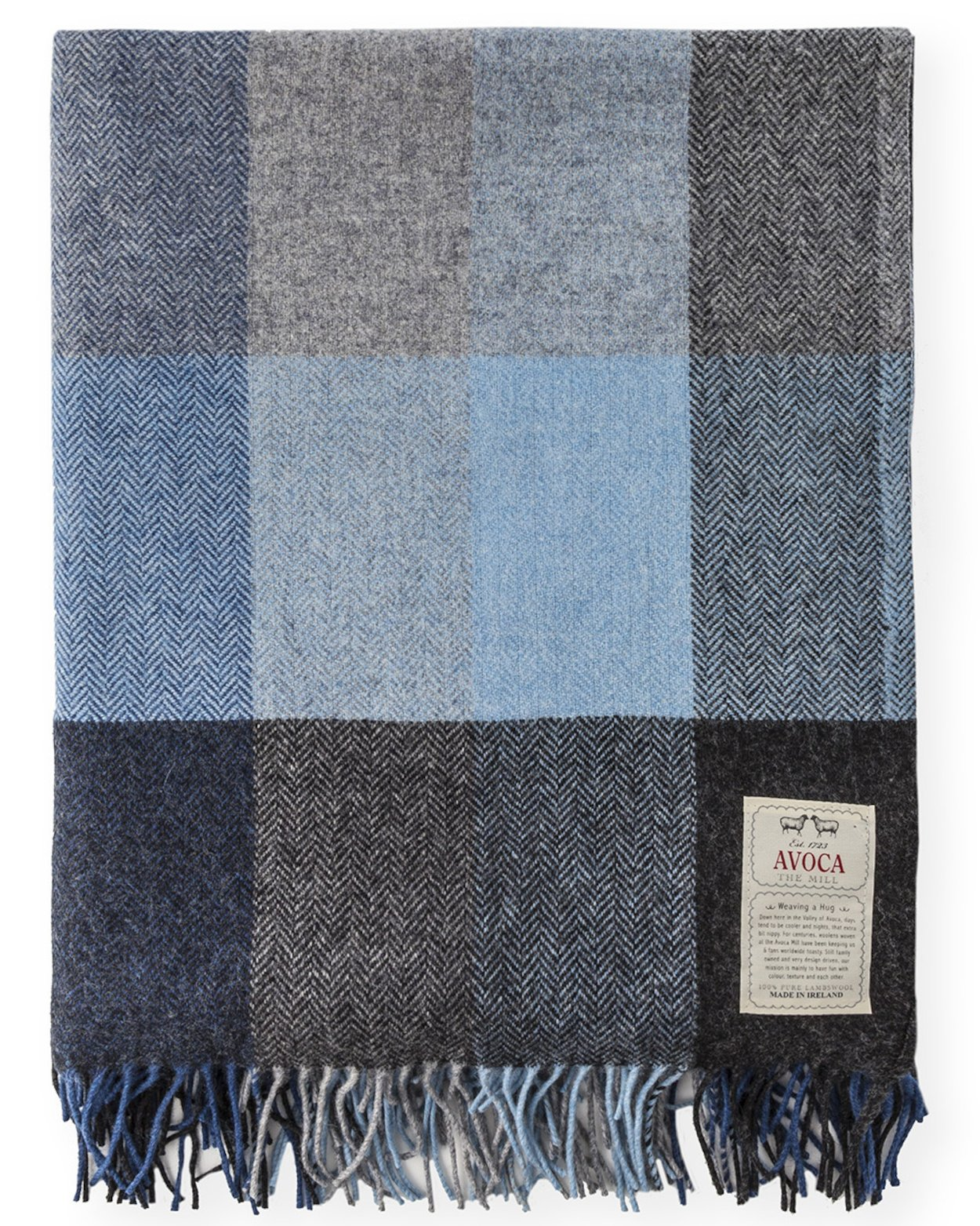 "Avoca Pure Lambswool Throw ""Denim"" Design 56"" x 40"" & 56"" 72"""