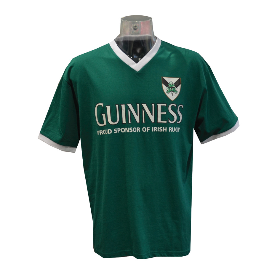 Guinness Green Shamrock Ireland V Neck T Shirt (L-XXL)