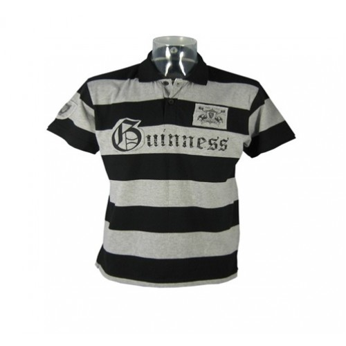 Guinness Black/Grey Stripe Polo Shirt