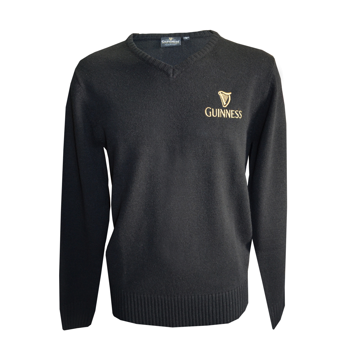 Guinness Black V Neck Gold Harp Emblem Sweater (S-XXL)