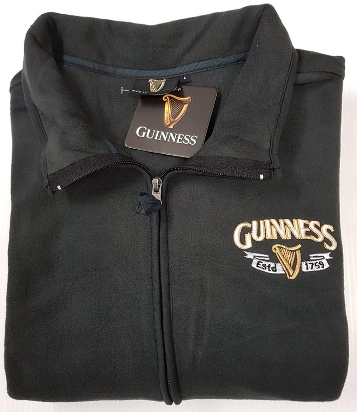Guinness Harp Trademark Fleece Jacket - Charcoal Grey (S-XXXL)