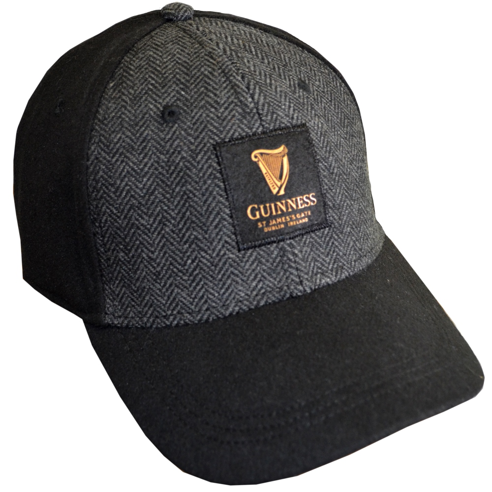 Guinness Black Tweed Baseball Cap (one size) - Click Image to Close