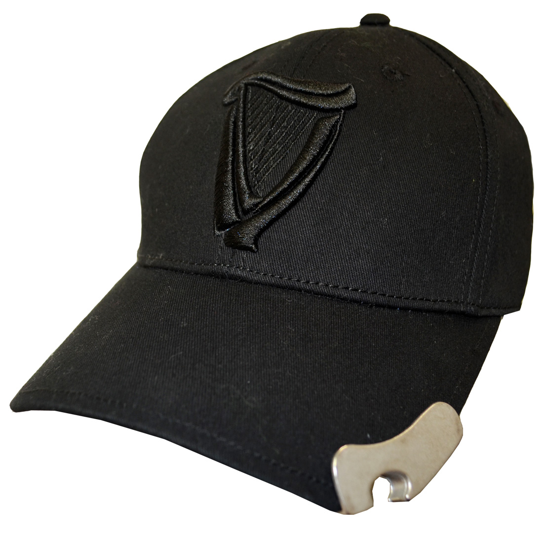 Guinness 3D Harp Black Base Ball Cap with bottler opener - Click Image to Close
