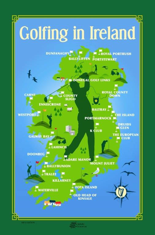Golfing In Ireland Linen Union Tea Towel