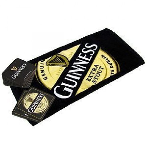 Guinness Bar Towel + 10 Beer Mats - Click Image to Close