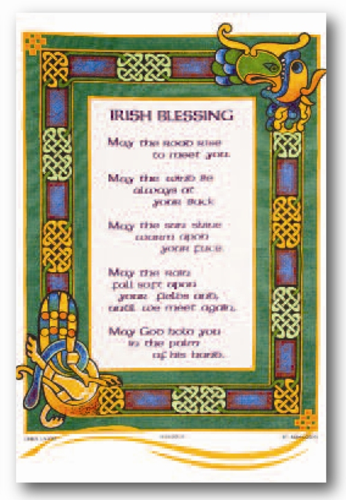 An Traditional Irish Blessing tea-towel in Linen Union - Click Image to Close