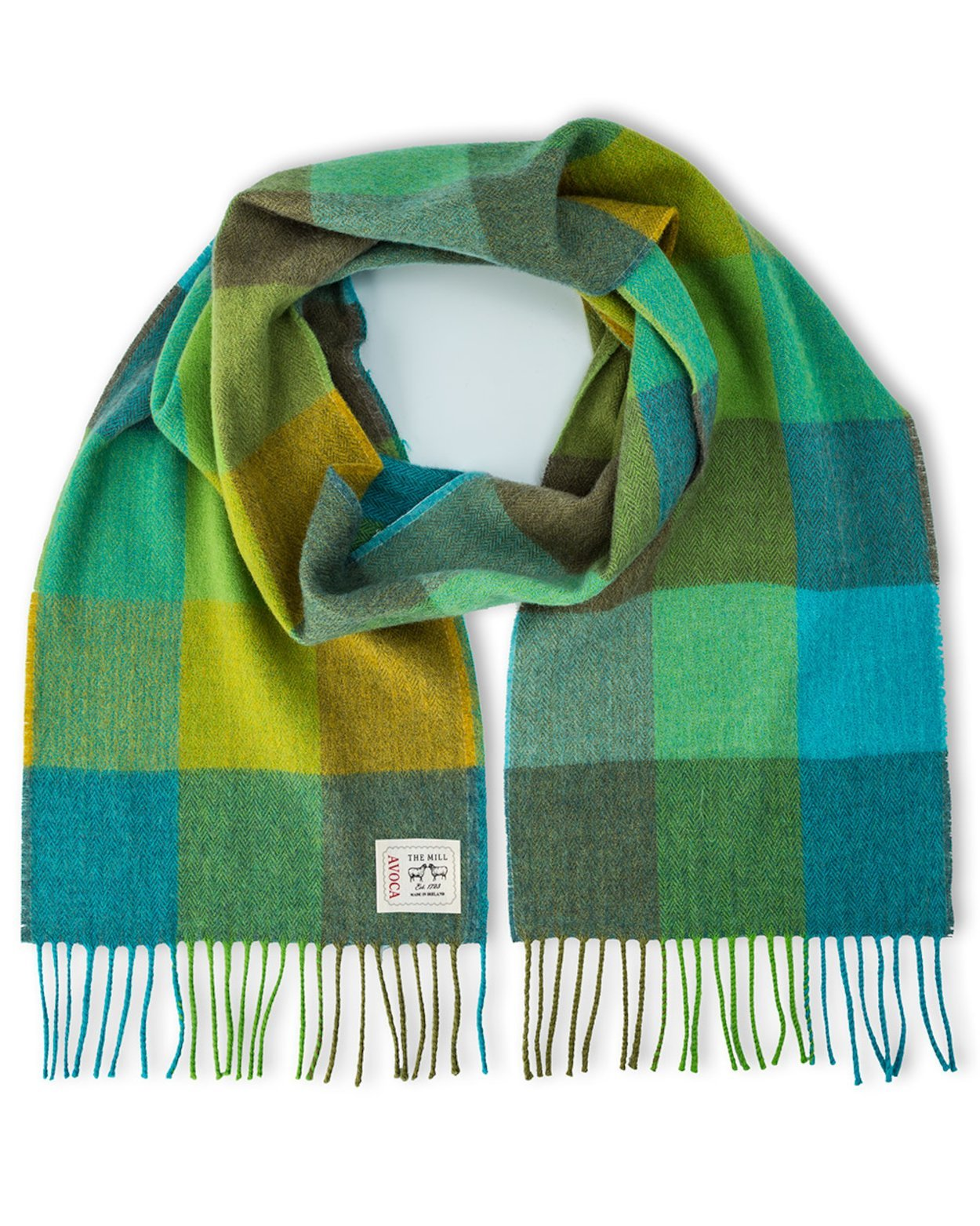 Avoca 100% Lambswool Scarf (Made in Ireland) Green Fields design