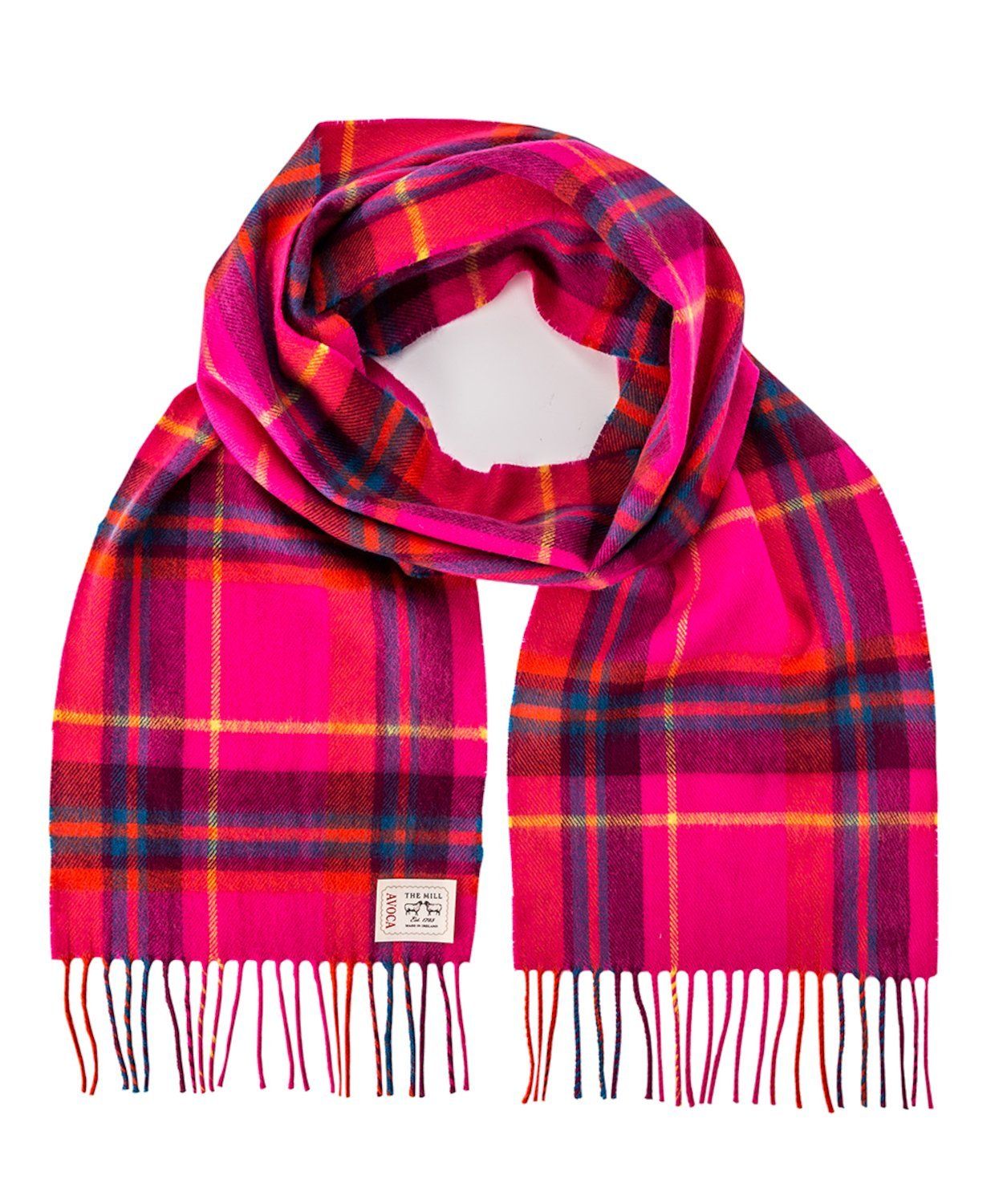 Avoca 100% Lambswool Scarf (Made in Ireland) Hot Pink design