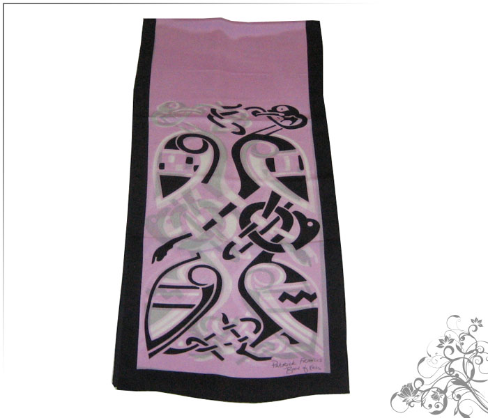 Patrick Francis silk scarf – Book of Kells Pink - Click Image to Close