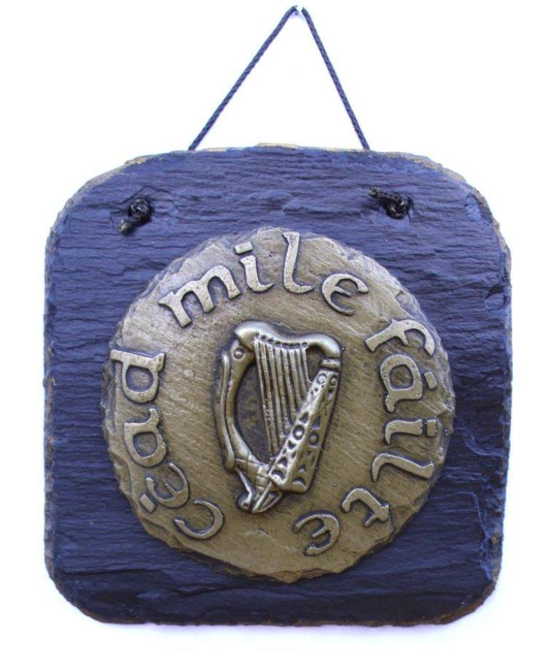 Cead Mile Failte Brass on slate wall hanging