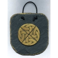 Celtic Knotwork Brass on Slate wallhanging by Ballyliss Studio