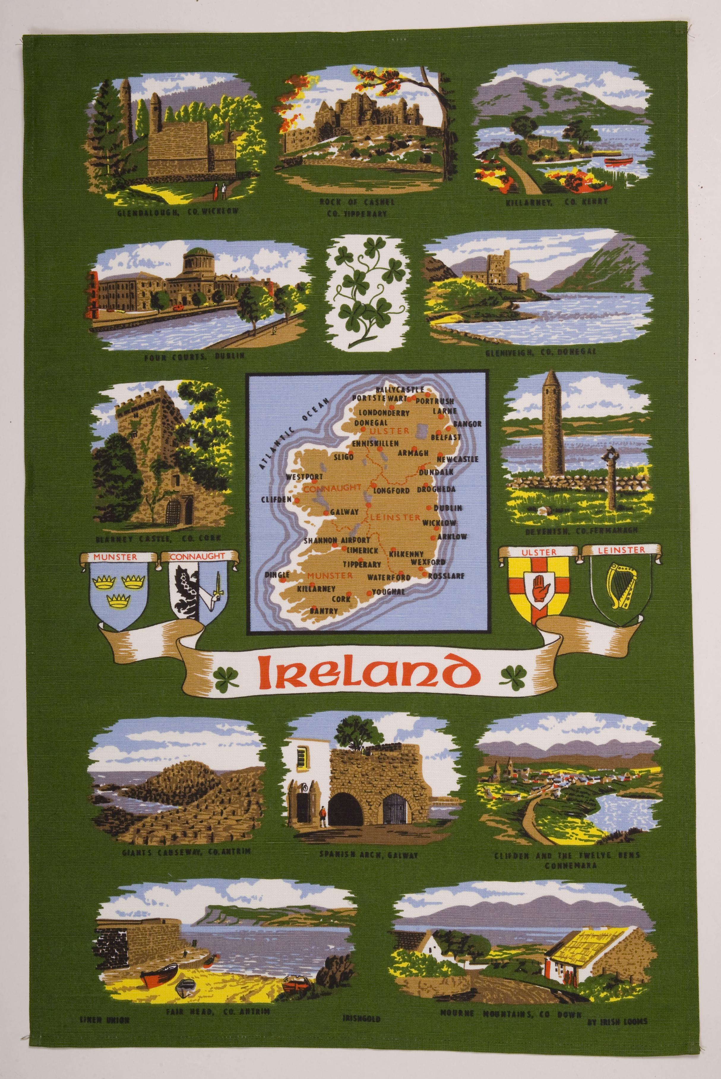 Ireland map tea towel tt 1d traditional irish for Home decorations ireland