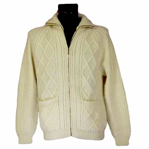 Aran Handknitted Zipper Cardigan - Click Image to Close