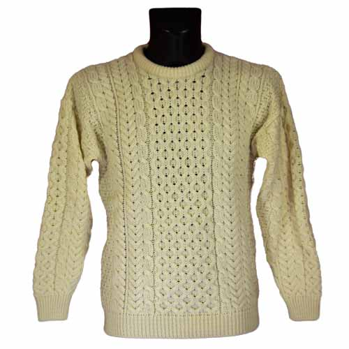 Aran knitted Wool Sweater - Classic design - Click Image to Close