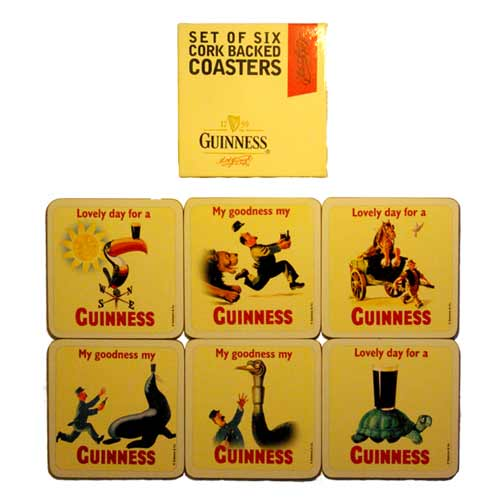 Set of 6 Cork Backed Guinness Coasters - Click Image to Close