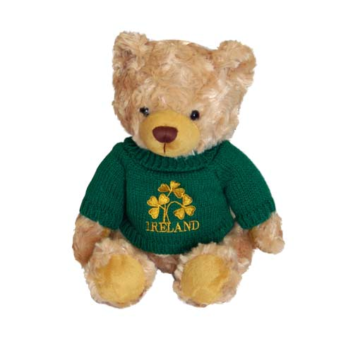 """Ciaran"" Traditional Irish bear - green sweater - Click Image to Close"