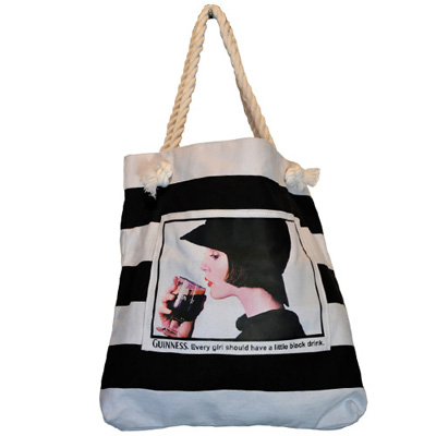 Black white Guinness stripe lady bag