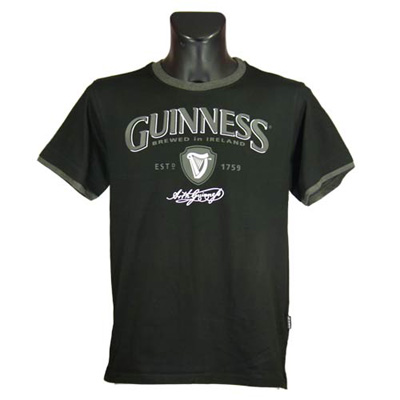Black Guinness Grey Trim T-shirt