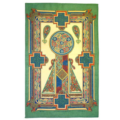 Celtic panel Irish tea towel