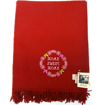 "Avoca pure wool rug –"" Sweet Home"" Red"