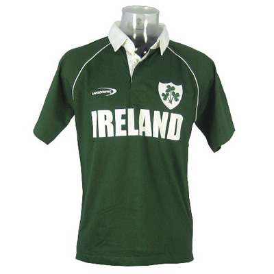 Lansdowne green Ireland rugby shirt with piping