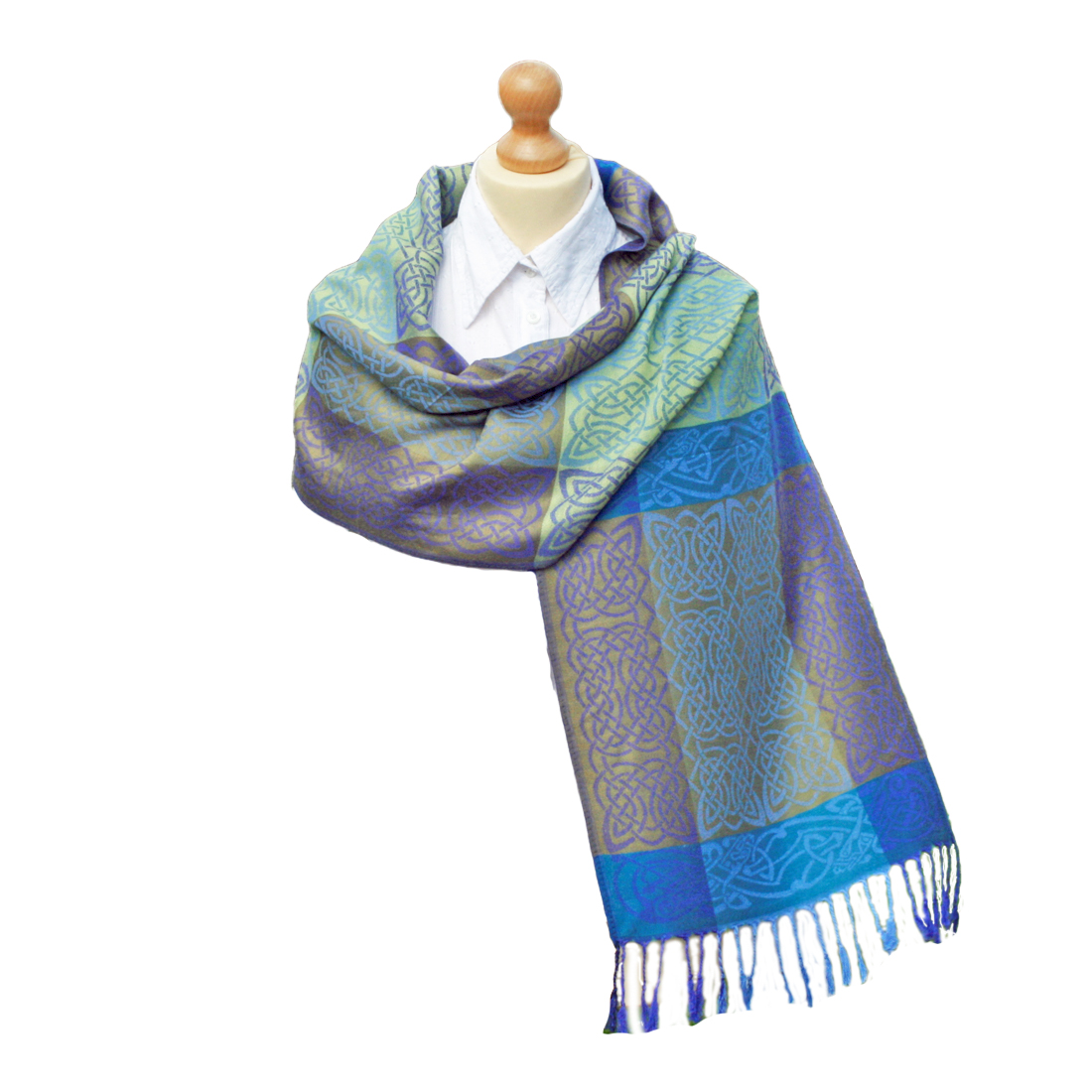 "Celtic Weave Pashmina from Ireland – Rathlin Design 74"" x 13.2"""