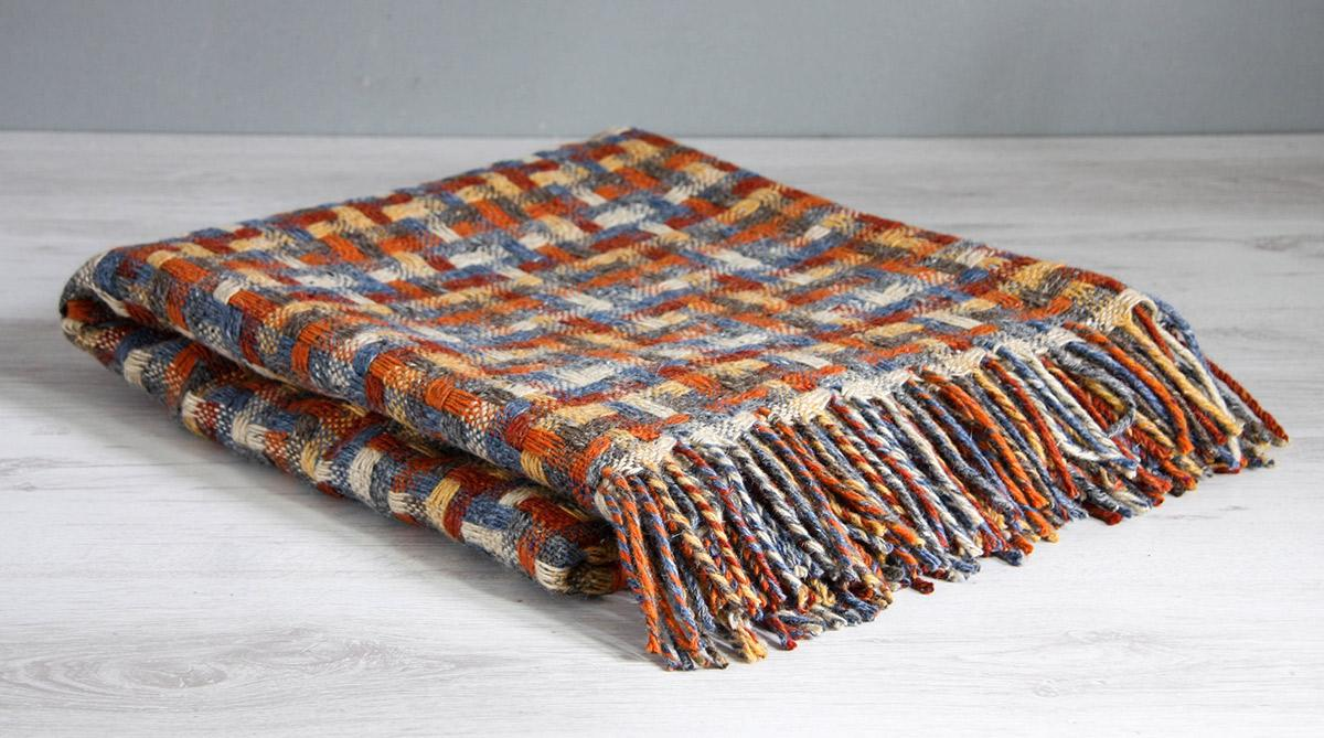 "Avoca Pure Wool Throw 56"" x 72"" Made in Ireland Lollipop Harvest"