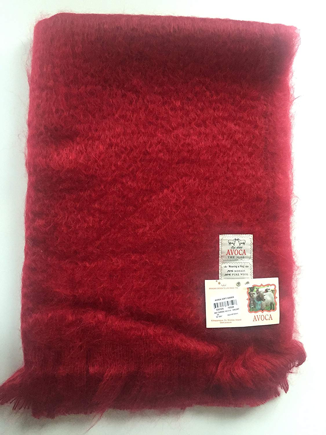 "Avoca Mohair Throw 56"" x 40"" Made in Ireland-Valent Design"