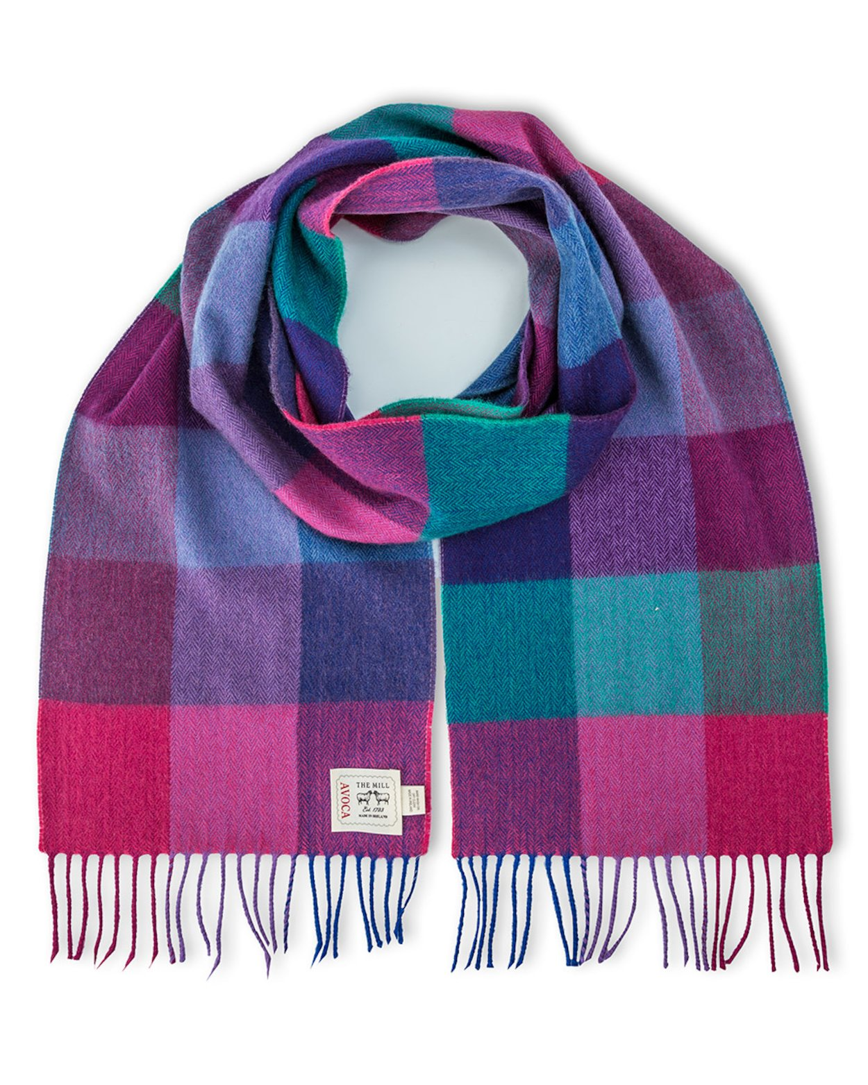 Avoca 100% Lambswool Scarf -Made in Ireland Jewels Fields design